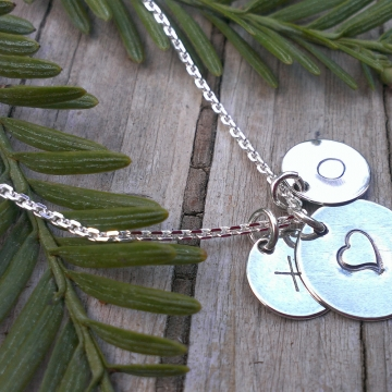 Hugs & Kisses - Handstamped Sterling Disk Pendants on Sterling Chain (Heart, X and O)