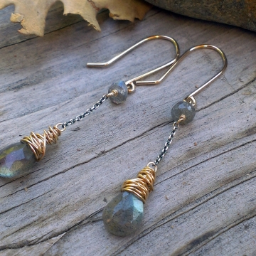 Mixed Metal Labradorite Earrings- Labradorite Briolettes wrapped in 14KGF Wonky Wrap on Oxidized Sterling Chain