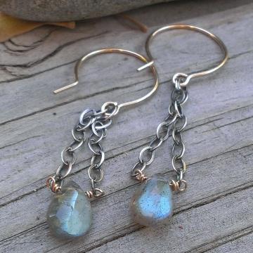 Labradorite Gemstone Earrings - Mixed Metal (sterling & 14KGF) with Labradorite Briolette