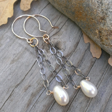 Cream Pearl Earrings - Mixed Metal (sterling & 14KGF) with Pearl Drop - handforged