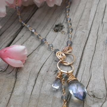 Blue Quartz Gemstones Linked with 14K Gold Filled Wire - Handforged Clasp & Gemstone Charms