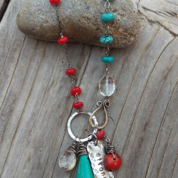 Coral and Turquoise Linked with Oxidized Sterling Wire - Handforged Clasp, Hand-stamped Medallion, Gemstone Charms
