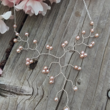 Vine Collection Petite Necklace - Peachy-Pink Freshwater Pearls in Sterling Silver