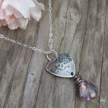 Shield Necklace in Hammered Sterling with Pink Quartz Brioletted Finished with Wonky Wrap - Sterling Chain, Adjustable