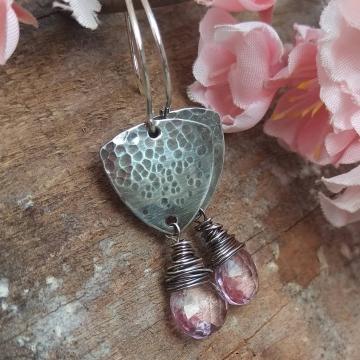 Shield Earrings in Hammered Sterling with Pink Quartz Brioletted Finished with Wonky Wrap