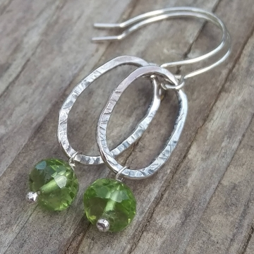 Textured Sterling Oval & Peridot Rondelle Charm Earring