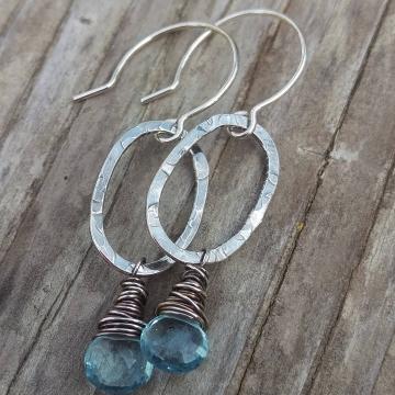 Textured Sterling Oval & Sky Blue Quartz Charm Earring
