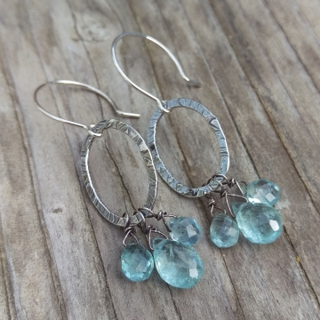 Textured Sterling Oval & Natural Aquamarine Cluster Charm Earring