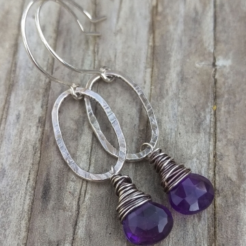 Textured Sterling Oval & Amethyst Briolette Charm Earring