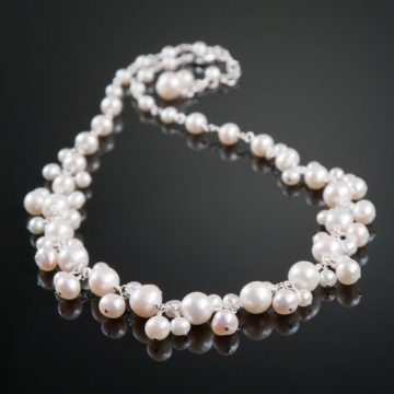 Bliss Bridal - White Pearl Charm Necklace