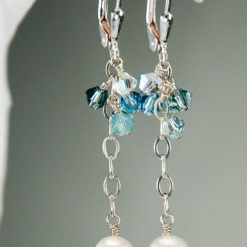 Blue Skies Ahead - Cluster Earrings, Long / Sterling Silver, Freshwater Pearls & Swarovski Crystal