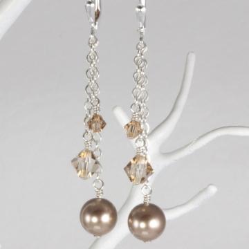 Triple Drop Charm Earring on Chain - Sterling Silver