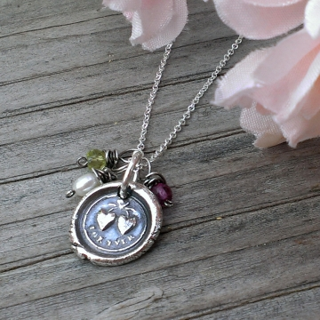 "Celebrity Gifting - Mother's Day, 2014 / ""For Ever"" Antique Insignia (.999 Silver) on Dainty Chain with Birthstones"
