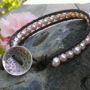 Leather Wrapped Bracelet - Brown Leather & Pink Pearls - Hanforged Sterling Button Clasp